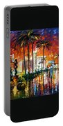 Las Vegas - Palette Knife Oil Painting On Canvas By Leonid Afremov Portable Battery Charger