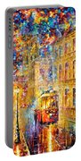 Last Trolley - Palette Knife Oil Painting On Canvas By Leonid Afremov Portable Battery Charger