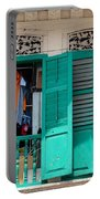 Laundry Hanging Seen Through Open Wood Shutter Windows Singapore Portable Battery Charger
