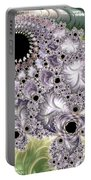 Lavender And Green Fractal Abstract  Portable Battery Charger