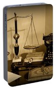 Lawyer - The Lawyer's Desk In Black And White Portable Battery Charger