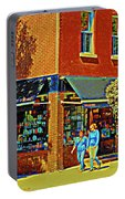 Le Fouvrac Foods Chocolates And Coffee Shop Corner Garnier And Laurier Montreal Street Scene Portable Battery Charger