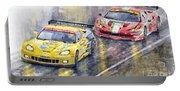 2011 Le Mans Gte Pro Chevrolette Corvette C6r Vs Ferrari 458 Italia Portable Battery Charger