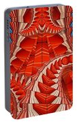 Leaf Pattern In Red Portable Battery Charger
