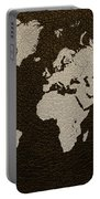 Leather Texture Map Of The World Portable Battery Charger