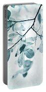 Leaves In Dusty Blue Portable Battery Charger by Priska Wettstein