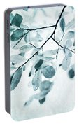 Leaves In Dusty Blue Portable Battery Charger