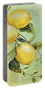 Lemons On Watercolor Portable Battery Charger