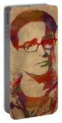 Leonard Hofstadter Watercolor Portrait Big Bang Theory On Distressed Worn Canvas Portable Battery Charger