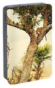 Leopard Eating His Victim On A Tree In Tanzania Portable Battery Charger