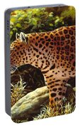 Leopard Painting - On The Prowl Portable Battery Charger