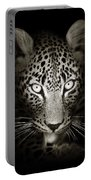 Leopard Portrait In The Dark Portable Battery Charger
