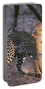 Leopard With African Wild Cat Kill Portable Battery Charger
