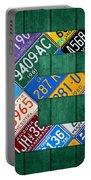 Letter E Alphabet Vintage License Plate Art Portable Battery Charger