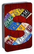 Letter S Alphabet Vintage License Plate Art Portable Battery Charger