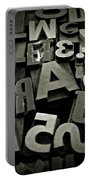 Letters And Numbers Gray Tones Portable Battery Charger