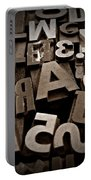 Letters And Numbers Sepia 2 Portable Battery Charger