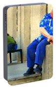 L'homme Orange Quiet Corner On St Catherine Street Downtown Montreal City Scene Carole Spandau Portable Battery Charger