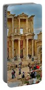 Library Of Celsus In Ephesus-turkey Portable Battery Charger