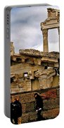 Library On The Pergamum Acropolis-turkey Portable Battery Charger