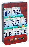 License Plate Map Of Missouri - Show Me State - By Design Turnpike Portable Battery Charger