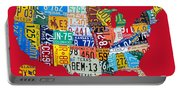 License Plate Map Of The United States On Bright Red Portable Battery Charger