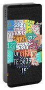 License Plate Map Of The United States On Gray Felt With Black Box Frame Edition 14 Portable Battery Charger