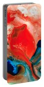 Life Force - Red Abstract By Sharon Cummings Portable Battery Charger by Sharon Cummings