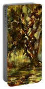 Light Through The Moss Tree Landscape Painting Portable Battery Charger