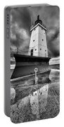 Lighthouse Reflection Black And White Portable Battery Charger