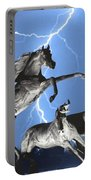 Lightning At Horse World Bw Color Print Portable Battery Charger