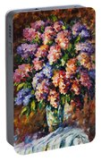 Lilac - Palette Knife Oil Painting On Canvas By Leonid Afremov Portable Battery Charger