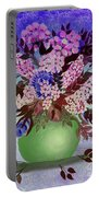 Lilacs And Queen Anne's Lace In Pink And Purple Portable Battery Charger