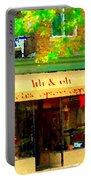 Lili And Oli Latte Espresso Cappucino Coffee Shop Rue Notre Dame St Henri City Scene Carole Spandau Portable Battery Charger