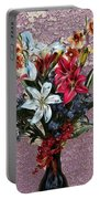 Lilies And Orchids Digitized Purple Portable Battery Charger