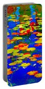 Lily Pads And Koi  Pond Waterlilies Summer Gardens Beautiful Blue Waters Quebec Art Carole Spandau  Portable Battery Charger