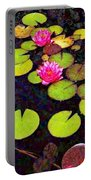 Lily Pads With Pink Flowers - Square Portable Battery Charger
