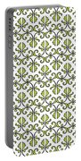 Lime Green And White Vines Portable Battery Charger
