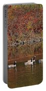 Line Of Geese On The Quinapoxet River Portable Battery Charger