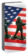 Line Of Toy Soldiers On American Flag Crisp Depth Of Field Portable Battery Charger