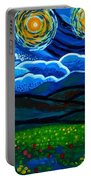 Lion And Owl On A Starry Night Portable Battery Charger