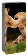 Lion Cubs Playing In The Grass Portable Battery Charger