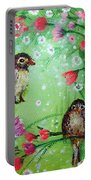 Little Birdies In Green Portable Battery Charger