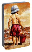 Little Boy On The Beach II Portable Battery Charger