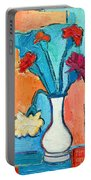 Little Carnations China Pink Flowers Portable Battery Charger by Ana Maria Edulescu