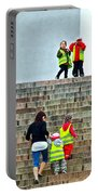 Little Children Climbing Steps Of Lutheran Cathedral Of Helsinki-finland Portable Battery Charger
