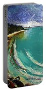 Little Cove Noosa Heads Abstract Palette Knife Seascape Painting Portable Battery Charger