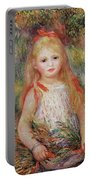 Little Girl Carrying Flowers Portable Battery Charger by Pierre Auguste Renoir