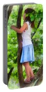 Little Girl Playing In Tree Portable Battery Charger