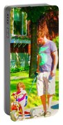 Little Girls First Bike Lesson With Dad Beautiful Tree Lined Street Summer Scene Carole Spandau  Portable Battery Charger